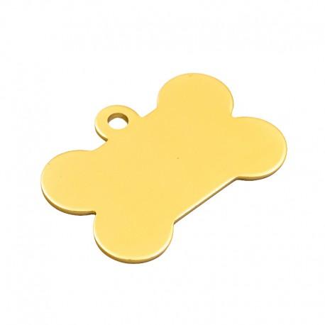 Médaille dorée pour animal en forme d'os