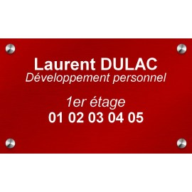 Plaque en aluminium rouge 250 mm x 150 mm