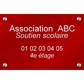 Plaque en aluminium rouge 300 mm x 200 mm