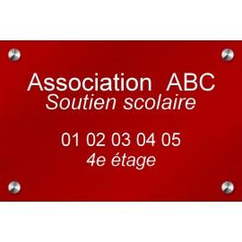 Plaque en aluminium rouge 300 mm x 200 mm