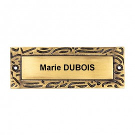 Plaque de porte rectangulaire antique 110mm x 40mm
