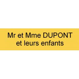 Plaque de boite à lettres jaune 90mm x 25mm